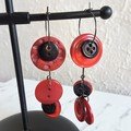 Unique Modern art Button statement mismatched dangling earrings , Black Red