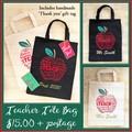 Custom Made Vinyl Printed Tote Bag - Teachers Gift