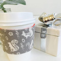 Christmas Coffee cup cozy with Grey and White Scandi Woodland Creatures