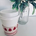 Christmas Coffee cup cozy with Scandi Red Christmas Trees