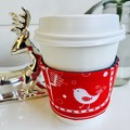 Christmas Coffee cup cozy,  with Scandi Pattern