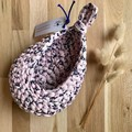 Crochet hanging pod | home decor | storage basket | PASTEL PINK NAVY FLOWERS