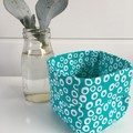Teal and White Circle Mini Linen Fabric Basket in pattern.
