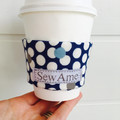 Coffee Cup Cozy in Navy Blue with White Polka Dots