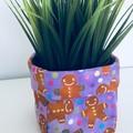 Mini Purple Fabric Gift Basket with Gingerbread Men