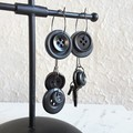 Unique Modern art Button statement mismatched dangling earrings , Black