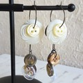 Unique Modern art Button statement mismatched dangling earrings , Brown White
