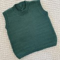 CLEARANCE 50% off - Dark green vest  -  6-9months - Hand knitted