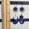 Unique Modern art Button statement mismatched dangling earrings , Blue Glitter