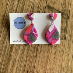 Abstract Pink - Statement Dangles Version 2