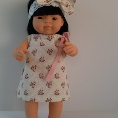 Miniland doll 38cm pillowcase dress with headband plus undies