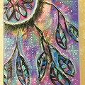Dreamcatcher mixed media painting on canvas block