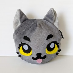 Cat Shaped Coin Purse in Grey Plush Minky