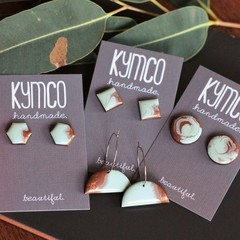 Jade + Copper resin earrings - various styles