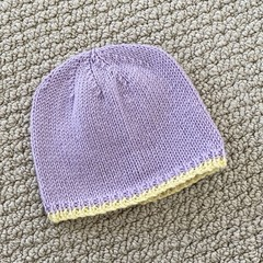 CLEARANCE 50% off - Lilac Newborn Baby Hat - Hand knitted in wool cashmere