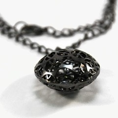 Black Peace Sign Pendant Necklace on Chain