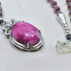 Pink Jade Pendant Necklace and Earrings with Light Purple Crystal Beads