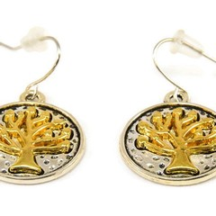 Tree of Life Charm, Gold & Silver, Two-Tone Earrings.   Handcrafted by EgamiImag