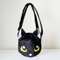 Cat Shaped Cross Body Bag with Pockets and Adjustable Strap in Black Plush Minky