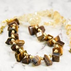 Tiger Eye, Citrine, Gemstone Necklace.     Handmade by EgamiImageCreations