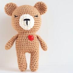 Little Ted, mini teddy bear, love heart bear, crochet bear