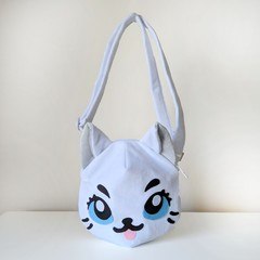 Cat Shaped Cross Body Bag with Pockets and Adjustable Strap in White Plush Minky
