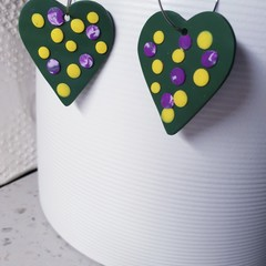 AURELIA big green spotty green yellow purple heart polymer clay earrings
