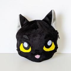 Cat Shaped Coin Purse in Black Plush Minky