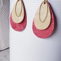 ROMY botanical brass red nude ecru minimalistic polymer clay earrings modern
