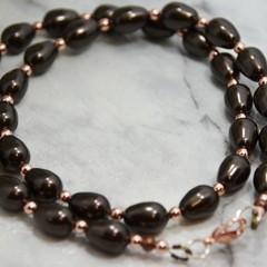 Swarovski Crystal Bronze Teardrop Pearls with Rose Gold Coloured Haematite Neckl