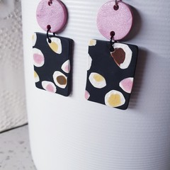 LAVINIA statement arty spots pink black yellow white polymer clay earrings
