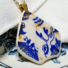 Aged Blue Willow Pendant