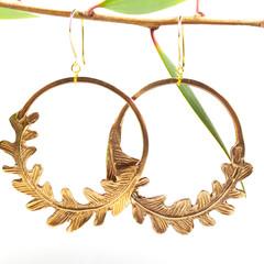 Goldern Fern Hoop Earrings