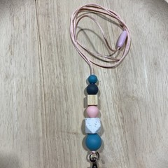 Silicone and wood bead lanyard