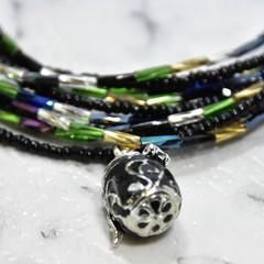 Black Prayer Box Pendant Necklace