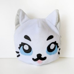Cat Shaped Coin Purse in White Plush Minky