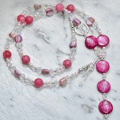 Mother of Pearl, Pink Earring and Necklace Set with Shell Pearl, Crystal and Arg