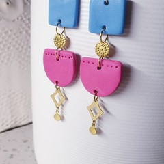 THALIA goddess long pink blue gold brass polymer earrings clay dangles drops