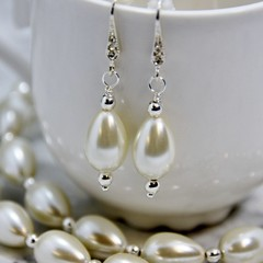 White Pearl Teardrop Necklace & Earrings with Silver Haematite Beads