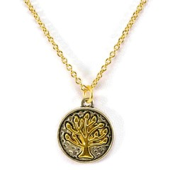 Tree of Life Charm, Gold & Silver, Two-Tone Necklace. Handcrafted by EgamiImageC