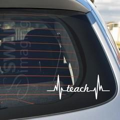 TEACH HEARTBEAT car window decal sticker