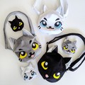 Cat Shaped Cross Body Bag with Pockets and Adjustable Strap in Grey Plush Minky