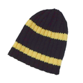 Black Rib Beanie With Yellow Stripes In Adult Size