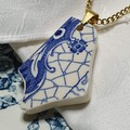 Aged Blue On White Pendant