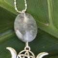 Facetted eliptoid quartz necklace with triple moon hanger.
