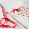 Pink {10w ties} Gold Heart Tags 50x75mm   Retro Parcel Tags   Pink Heart Tags