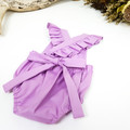 Purple Baby Girl Romper with Ruffle Straps, Flutter Sleeve Toddler Boho Playsuit