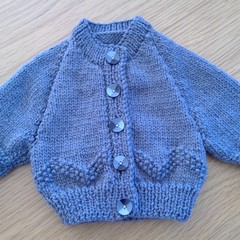KNITTED CARDIGAN TO FIT PREMMIE IN BENDIGO 85% WOOL, 10% ALPACA & 5% SILK.