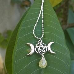 Triple moon hanger with peridot teardrop necklace.