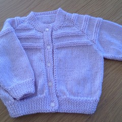 GARTER RIDGED YOKE CARDI TO FIT 3 - 6 MTHS IN LILAC PATON'S 4PLY 100% ACRYLIC.